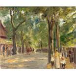"""Max Liebermann. """"Die Große Seestrasse in Wannsee mit Spaziergängern"""". 1920 (?)"""