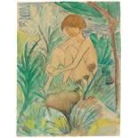 """Otto Mueller. """"Im Gras sitzendes Mädchen"""". Um 1925"""