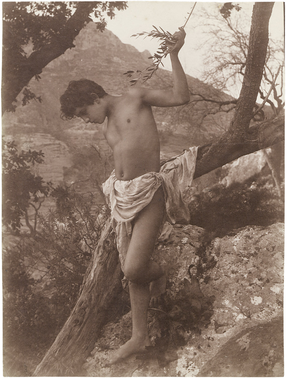 loincloth  boy Lot 4055 - Gloeden, Wilhelm von: Boy with loin cloth on tree trunk Boy