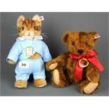 A Steiff Beatrix Potter Tom Kitten, together with a Steiff teddy bear, tallest 27cm.
