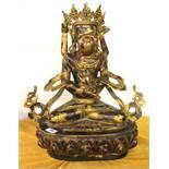A large Tibetan gilt bronze figure of Yabyum and consort, H. 52cm.