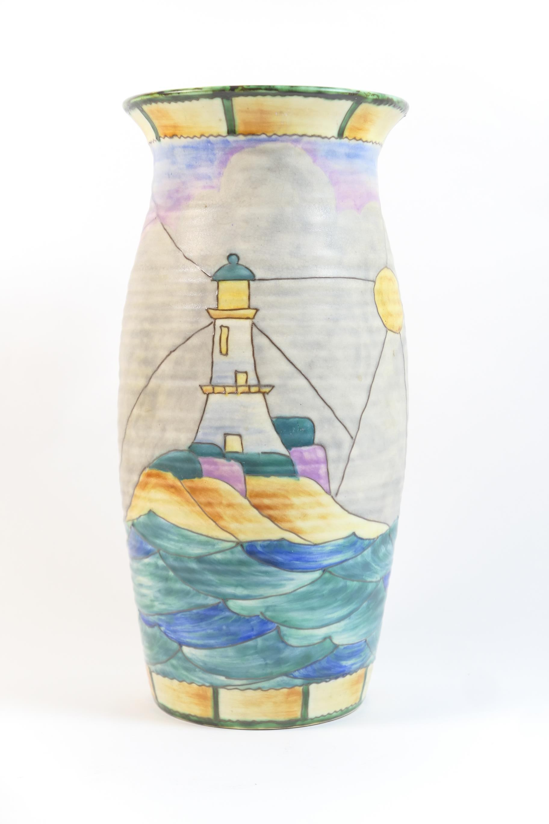 Lot 31 - Crown Devon Fieldings yacht and lighthouse patterned vase, ovoid form with slightly everted rim,
