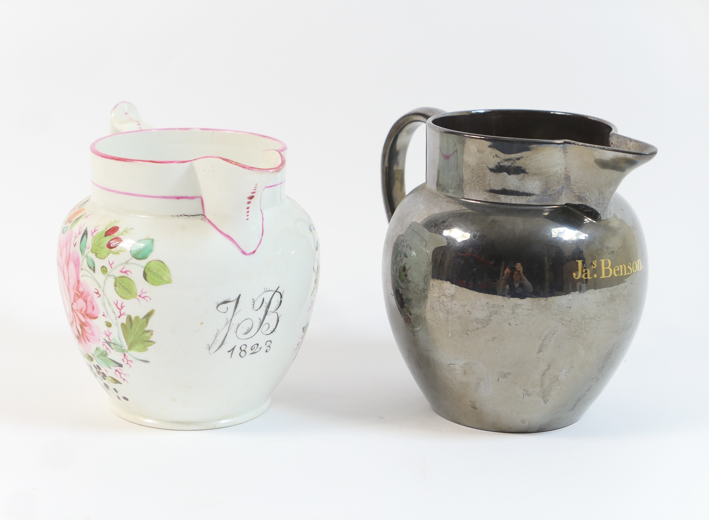 Staffordshire dated milk jug, circa 1823, decorated with floral sprays in bold colours, against a - Image 2 of 2