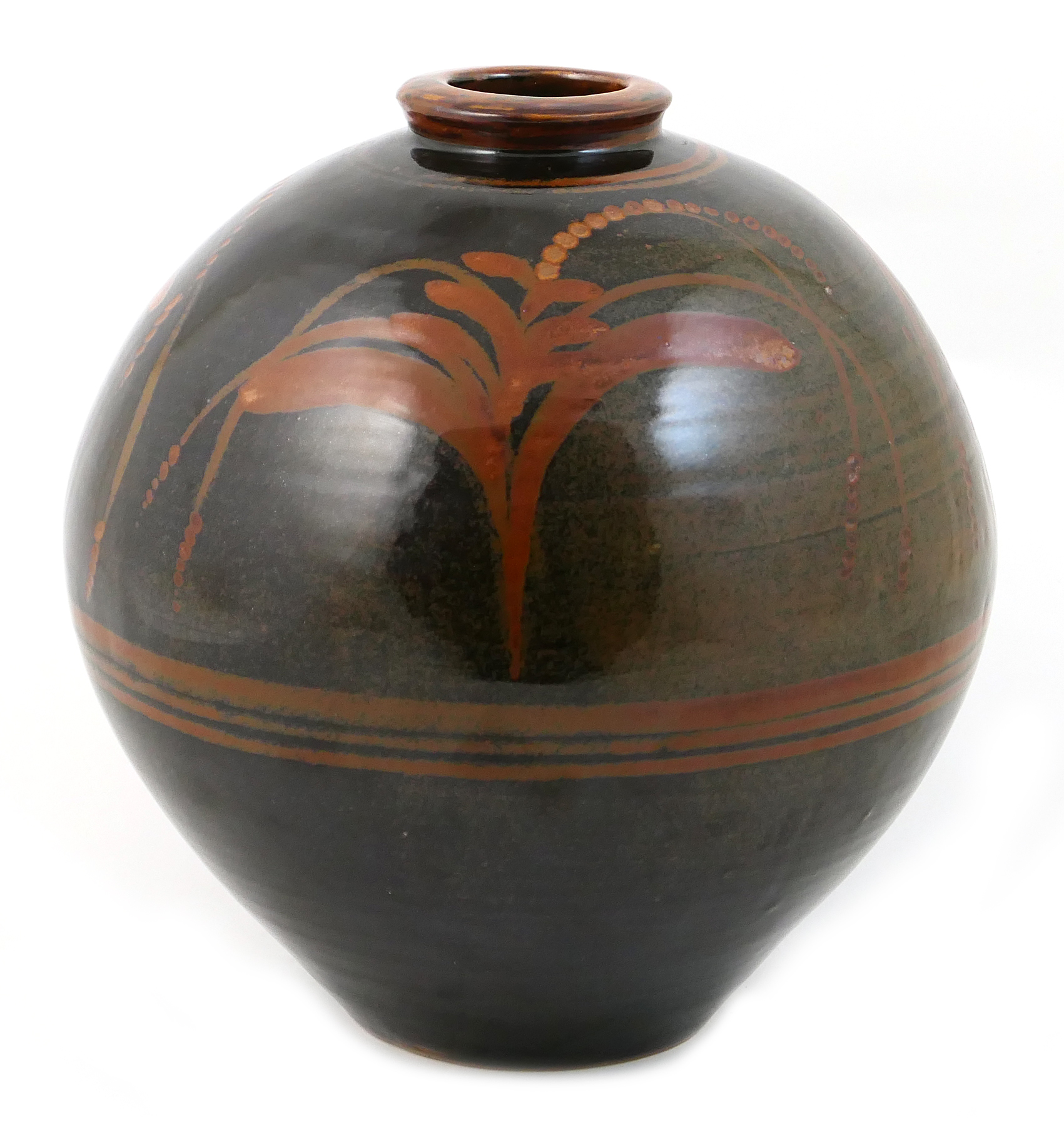Lot 44 - David Leach (1911-2005), large stoneware globular jar, decorated throughout in a tamaku glaze