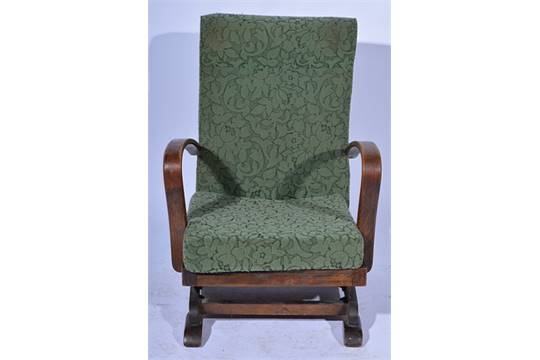 1930u0027s Beechwood Framed Rocking Chair, Upholstered In Patterned Uncut  Moquette, Width 63cms.