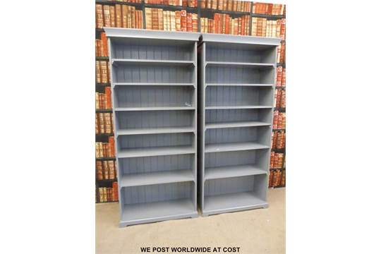 A Pair Of Grey Ikea Liatorp Bookcases With Adjustable Shelves W96 X