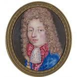 Pierre Huaud (1647–ca. 1698) Umkreis Portrait d'un jeune homme 1691 Emailmalerei rückseitig