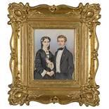 Albert Theer (1815–1902) Portrait eines Paares 1854 Gouache auf Elfenbein unten rechts signiert «