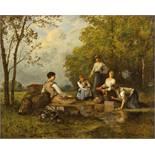 Léon Richet (1847–1907) Lavandières l auf Holz unten rechts signiert « Léon Richet » 52 x 66.5 cm