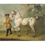 Johann Georg de Hamilton (1672–1737) Lipizzanerhengst mit krausem grauen Fell, präsentiert von einem