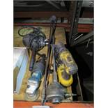 "LOT - MISC PNEUMATIC AND ELECTRIC POWER TOOLS, TO INCLUDE: 1/2"" DRILL MOTOR, DEWALT 18V CORDLESS"