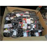 LOT - LARGE BOX OF NEW V BELTS/DRIVE BELTS, VARIOUS SIZES