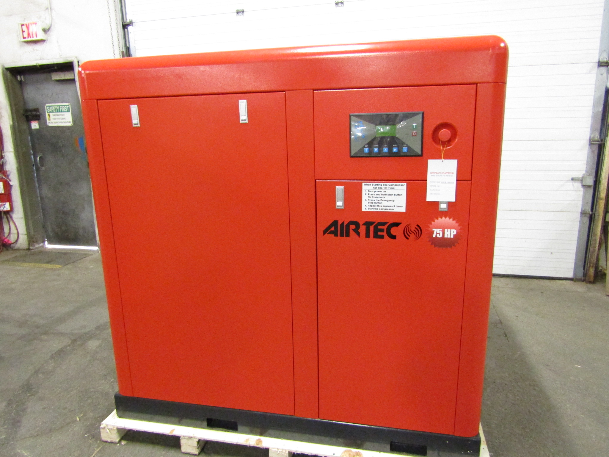 Airtec 75HP Rotary Screw Air Compressor - MINT UNUSED COMPRESSOR