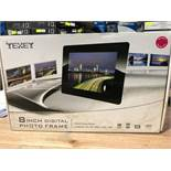 "1 BOXED TEXET 8"" DIGITAL PICTURE FRAME / RRP £29.99 (PUBLIC VIEWING AVAILABLE)"
