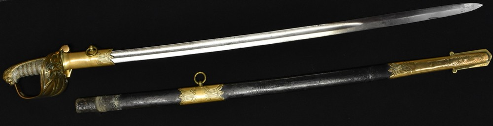 Lot 3054 - A Victorian 1827 pattern Royal Naval Officers Sword, 79cm blade named to J.T.FREEMAN R.