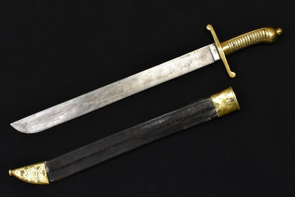 Lot 3008 - A 19th century German 1845 pattern PDL fusilier`s falchion short sword, 48cm blade,