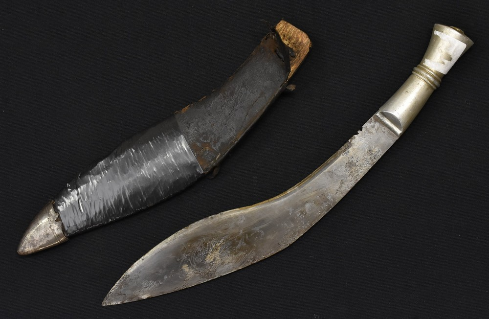 Lot 3042 - A Maharaja of Jodhpur`s State Forces kukri, blued blade, white metal handle, with blued blade,