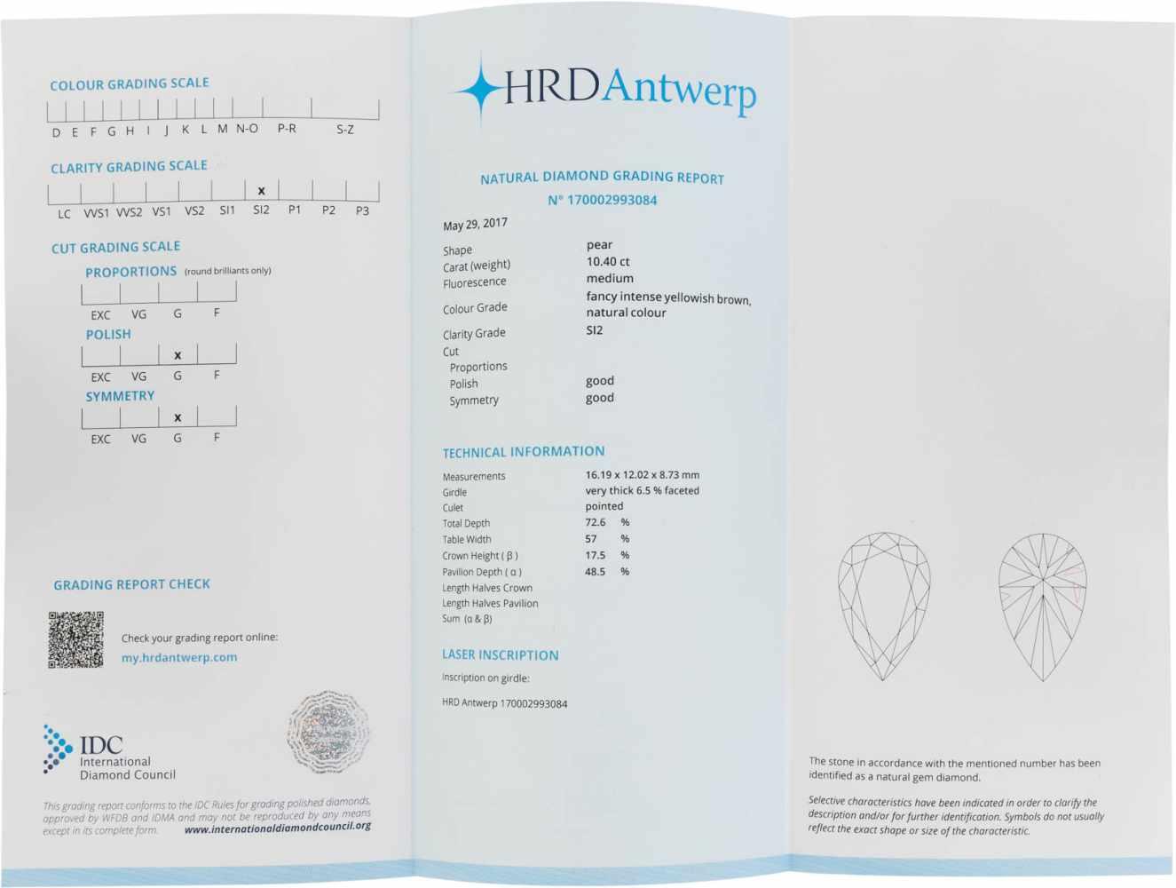 UNGEFASSTER DIAMANT - 10.40 CARAT Diamant im Tropfenschliff. 16.19 x 12.02 x 8.73 mm, 10.40 ct.. - Image 4 of 4