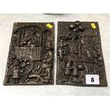 Two cast Bob Olley plaques