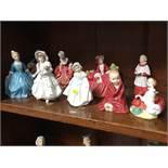 9 Royal Doulton figures, various