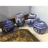 Four Maling tea caddies