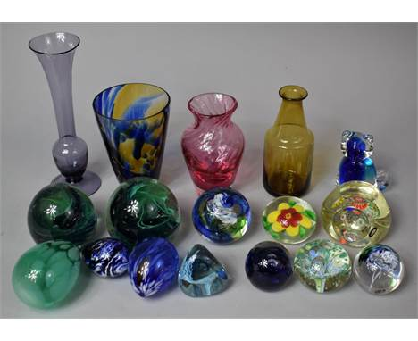 A Collection of Various Coloured Glassware to Comprise Eleven Various Paperweight to Include Example by Kerry Glass etc Toget