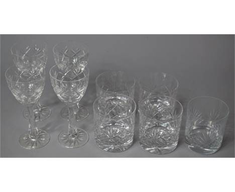 A Small Collection of Cut Glassware to Comprise Tumblers and Four Matching Wines Together a Single Example Tumbler