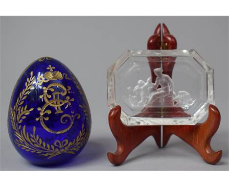 A Russian Etched and Gilt Decorated Cobalt Blue Glass Egg Together with a Small Pin Dish with Engraved Decoration, Maiden wit