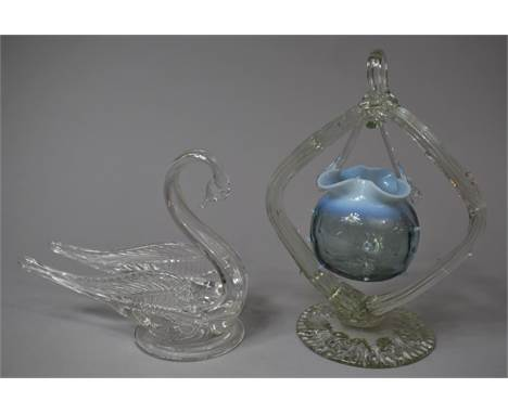 A Glass Dish in the Form of a Swan Together with a Blue Vaseline Glass Hanging Basket on Stand