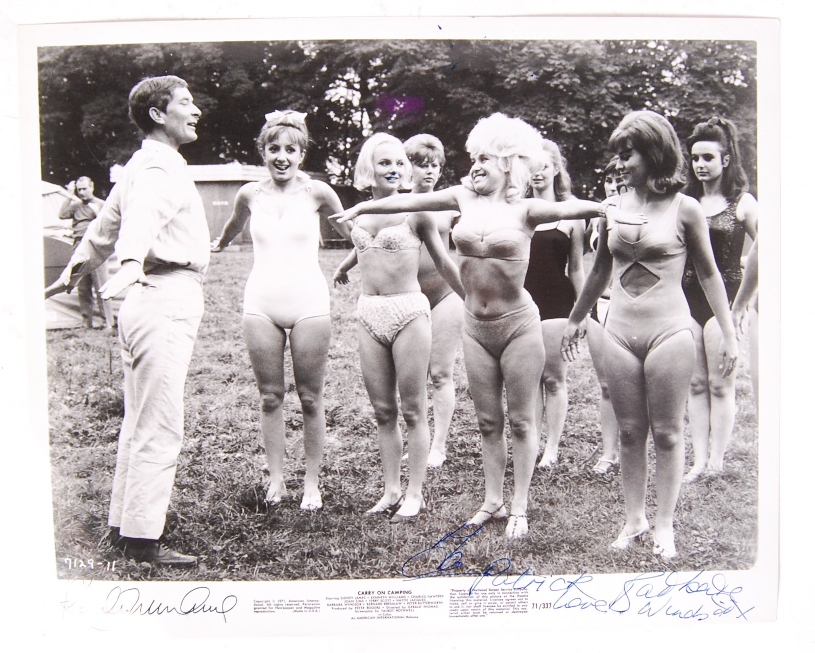 Lot 35 - RARE ' CARRY ON CAMPING ' MOVIE STILL WITH AUTOGRA