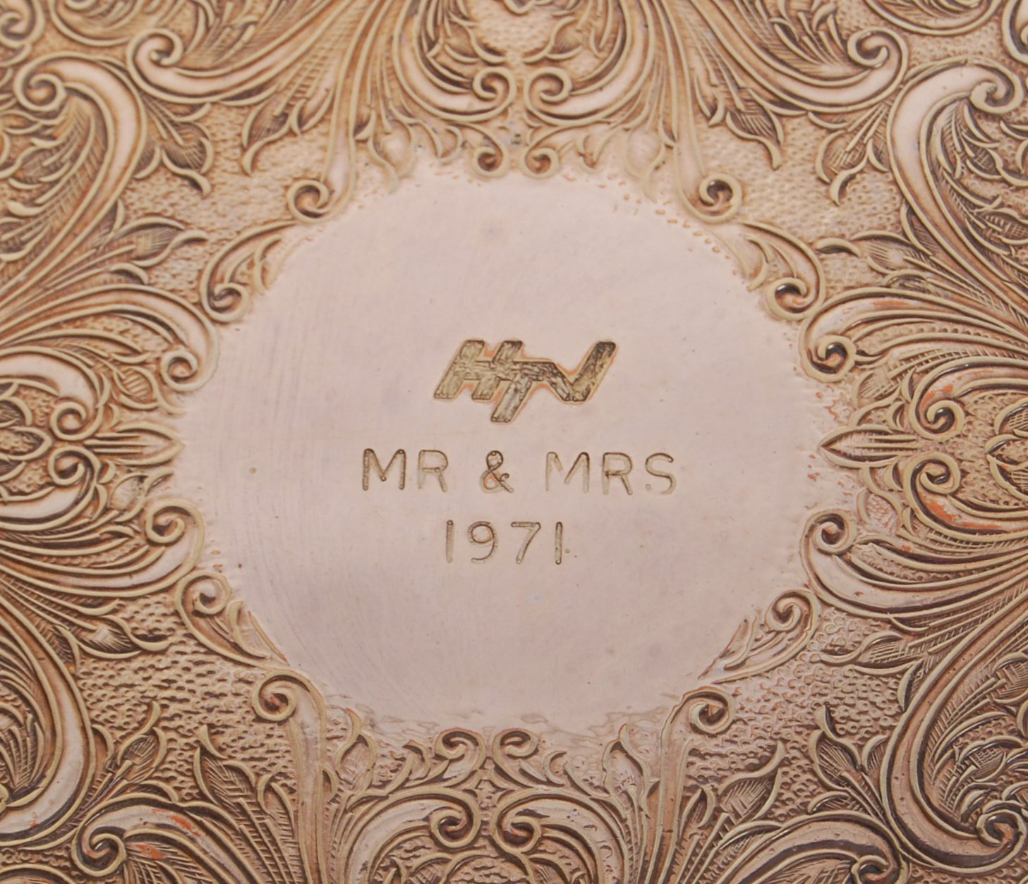 Lot 36 - ORIGINAL HTV ' MR & MRS ' SHOW-GIVEN SILVER PLATE TRAY