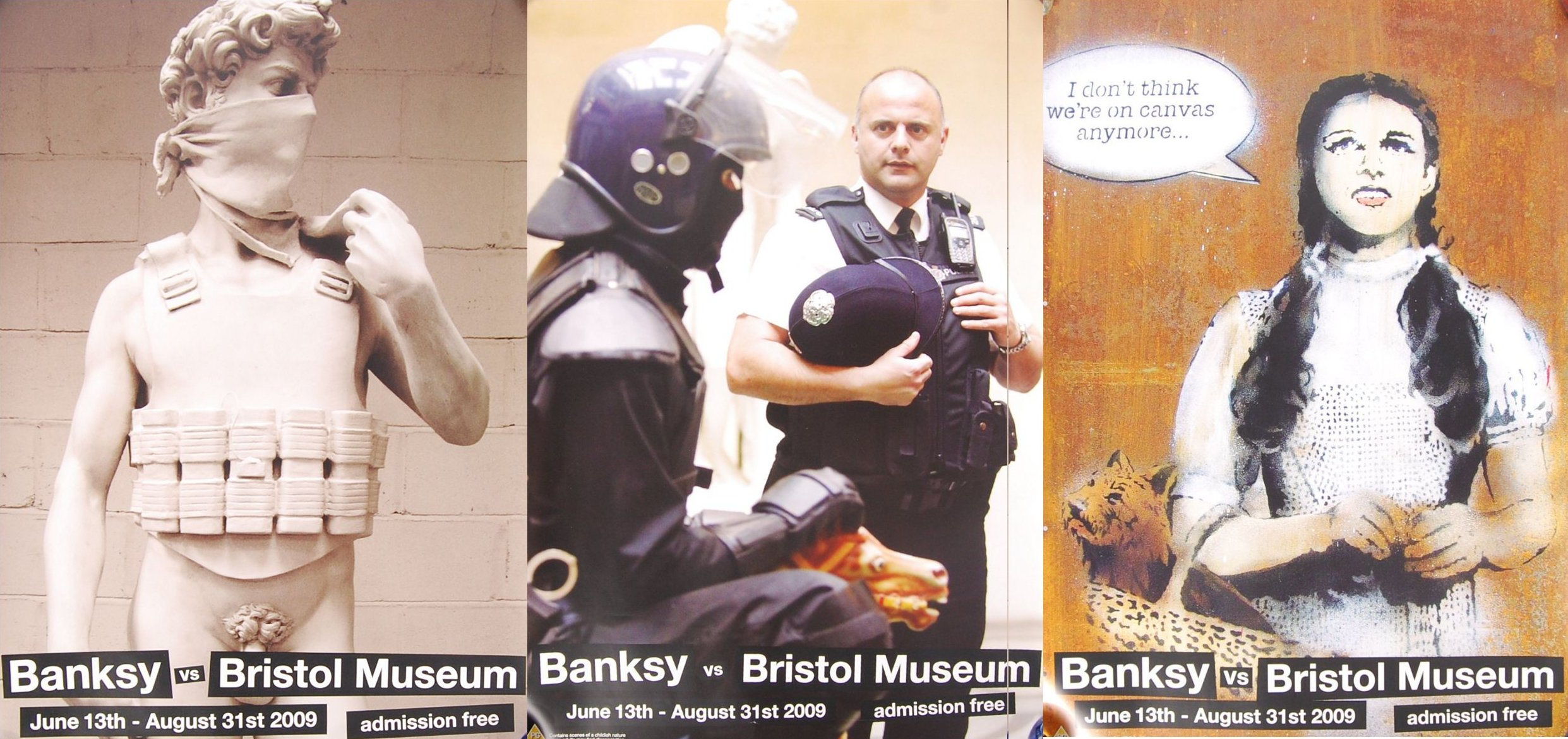 Lot 6 - RARE FULL SET OF ' BANKSY Vs BRISTOL MUSEUM ' EXHIBITION POSTERS