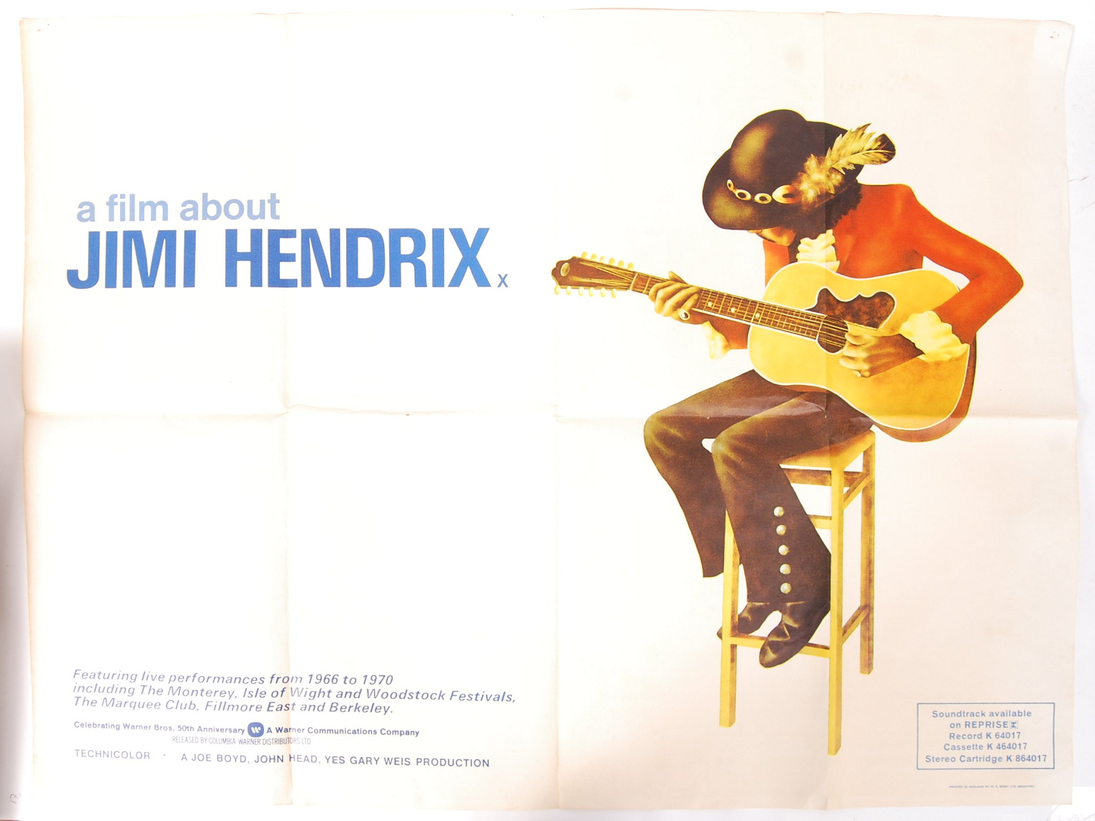 Lot 11 - ' A FILM ABOUT JIMI HENDRIX ' 1973 ORIGINAL CINEMA UK QUAD MOVIE POSTER