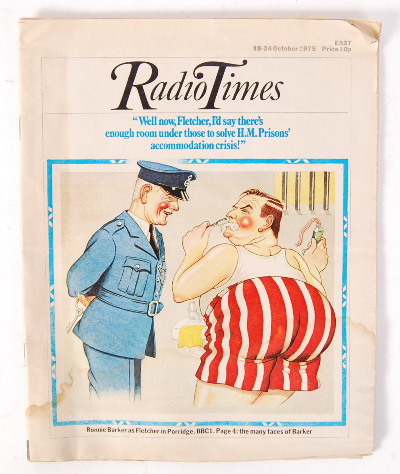 Lot 46 - RARE VINTAGE OCTOBER 1975 RADIO TIMES WITH ' PORRIDGE ' COVER