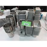 "Lot 88 asst Stainless Steel 4""x7""x4"" deep, 6""x6""x4"" deep inserts, 5"" dia x 6"" deep inserts"