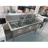 """Stainless Steel 59"""" 3 compartment sink w water filter"""