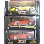 Three Burago Ferrari models, 348TB 1989, F40 1987, 456GT 1992,