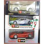 Three Burago Ferrari models, 1992 456 GT, 1984 Testa Rossa and F50,