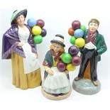 Three Royal Doulton figures, Balloon Boy, HN2934, Balloon Girl, HN2818 and Balloon Lady,