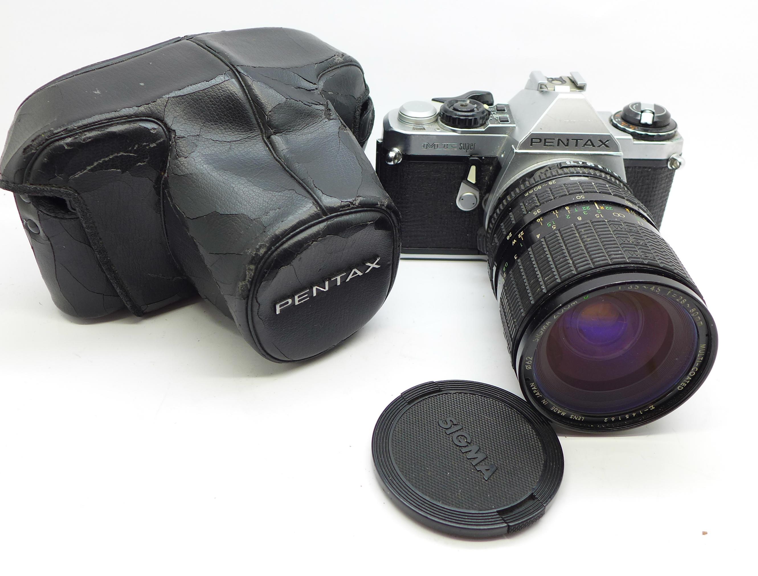 Lot 636 - A Pentax ME Super camera with Sigma 28-80mm f3.5-4.