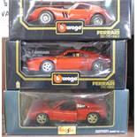 Two Burago Ferrari models, 1984 GTO, 250 GTO 1962 and a Maisto Ferrari 348 TS, 1990,