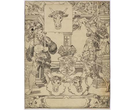 SCHWEIZ (SCHAFFHAUSEN), UM 1580Entwurf einer Standesscheibe Uri.Feder in Schwarz. Auf Bütten mit Wz. 'Doppeladler mit K' (ähn