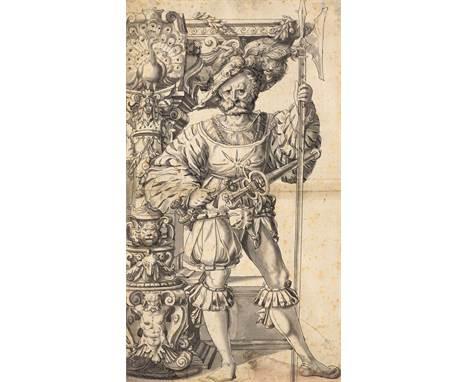 SCHWEIZ, UM 1600Gerüsteter Krieger mit Halbarte neben einem reich verzierten Renaissanceportal. Entwurf für eine Standesschei