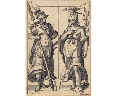 HANS JAKOB NÜSCHELER D.Ä. (ZUGESCHRIEBEN)(1583 Zürich 1654)Allegorien des Kriegs und des Friedens. Entwurf für einen Scheiben