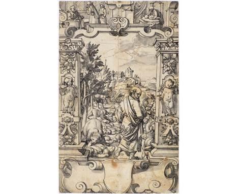 HIERONYMUS VISCHER (ZUGESCHRIEBEN)(1564 Basel 1631)Scheibenriss mit dem die Knaben verfluchenden Elisäus und leerem Wappensch