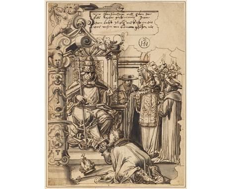 HEINRICH NÜSCHELER (ZUGESCHRIEBEN)(1550 Zürich 1616)Ein Papst lässt sich seine Füße vom Kaiser küssen, im Hintergrund weitere