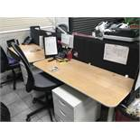 Pod of four desks with acoustic screens, four pedestals, two grey mech back swivel chairs and a