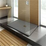 (DD38) 1400x900mm Rectangular Slate Effect Shower Tray in Grey. RRP £549.99. Manufactured in t...