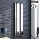 (DD20) 1600x452mm Chrome Single Flat Panel Vertical Radiator. RRP £339.99. Ultra-modern in des...