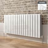 (DD23) 600x1380mm Gloss White Double Flat Panel Horizontal Premium Radiator. RRP £699.99. Made...